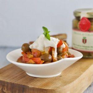 Marina Colonna Recipe Caponata Vegetables Stracciatella Cheese Croutons olives